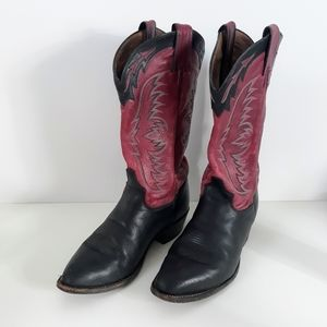 Tony Lama Red Black Leather Western Cowgirl Boots